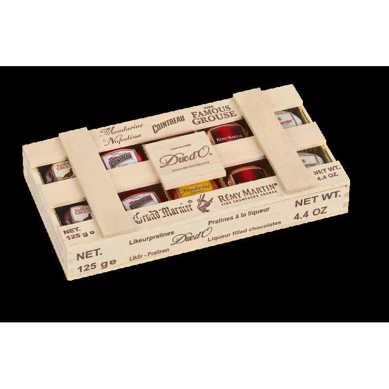Likérové pralinky v dřevěné krabičce